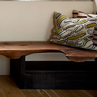 Bench of Steel and Walnut as Styled by HVL Interiors